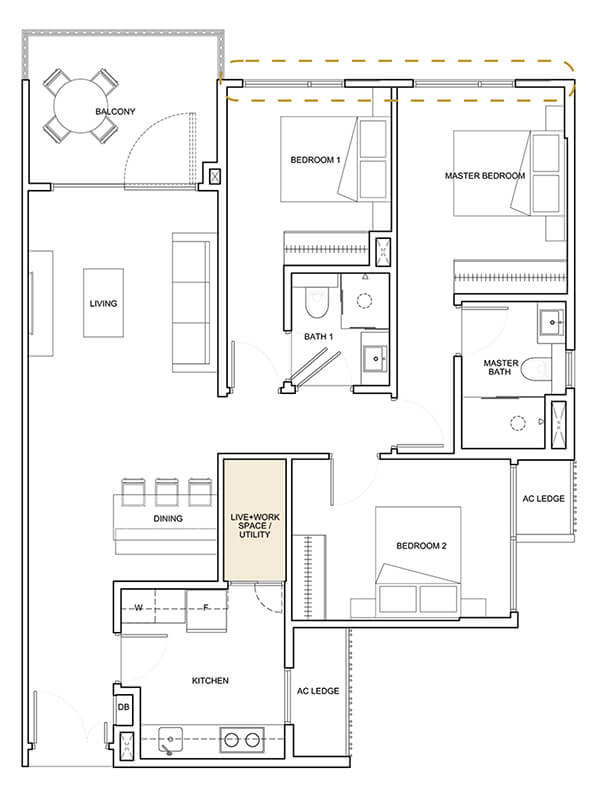 3 Bedroom + Utility Type B4 1,152 sqft