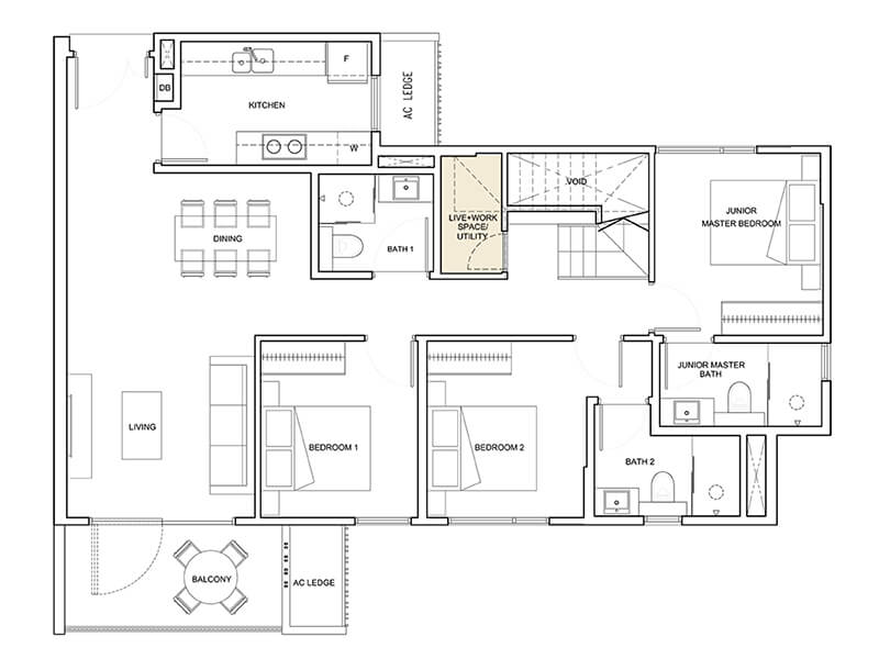 Lower Floor 4 Bedroom Penthouse + Utility Type D5-PH 1,948 sqft